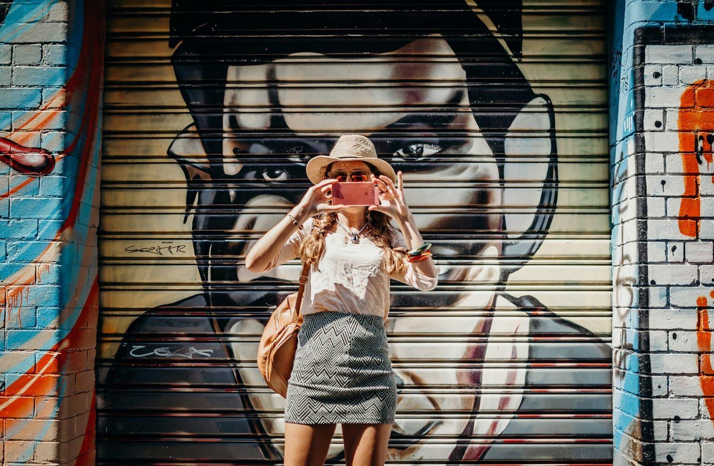 MELBOURNE, AUSTRALIA - March 12, 2017: Tourist taking a photo of